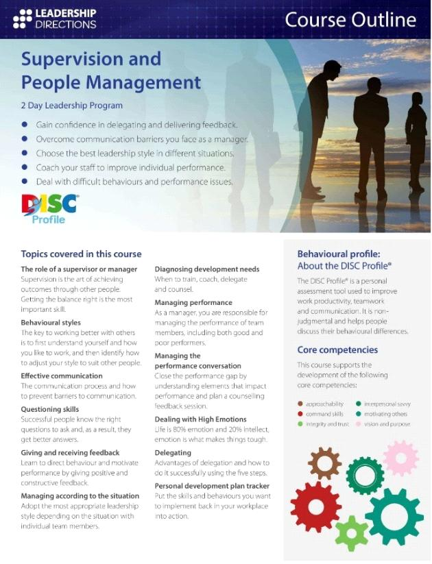 CPD Program - Leadership Directions: Supervision and People Management
