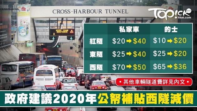 【施政報告】2020年紅隧私家車加至40元作分流 西隧私家車收費減至50元